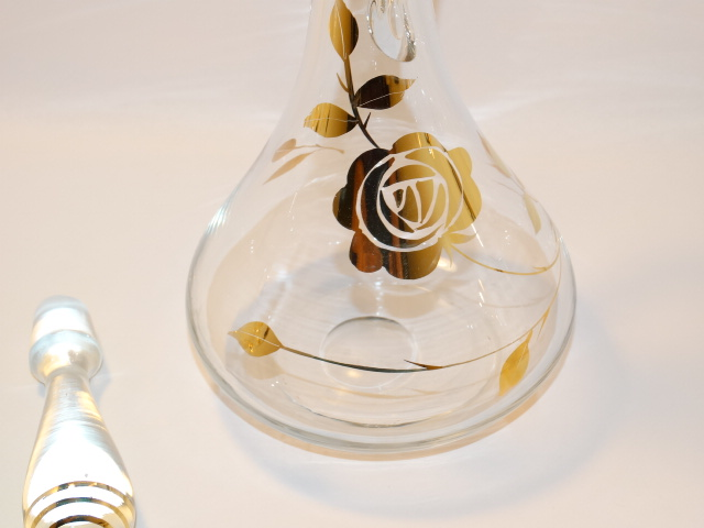 Image 8 of Decanter w Six Glasses, Crystal w Gold Roses
