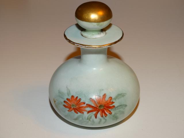 Perfume Bottle w Orange Asters, Germany