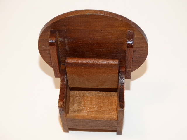 Image 4 of Dollhouse Flip Top Table, Stool, Wood