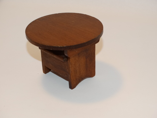 Image 5 of Dollhouse Flip Top Table, Stool, Wood