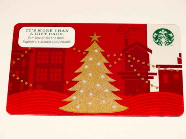 Starbucks Gift Card, Red w Gold Christmas Tree, ZERO Balance
