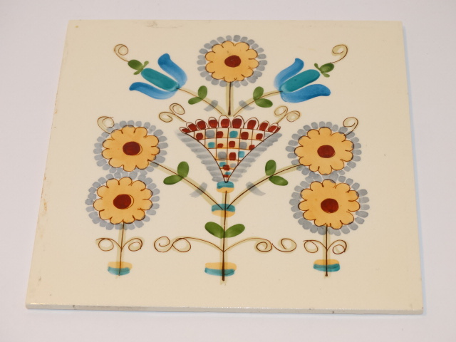 Image 3 of German Ceramic Tile, Floral Blue Brown Red