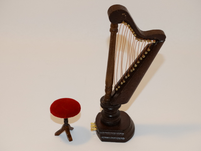 Image 3 of Dollhouse Harp and Stool, Wood, Red Velvet