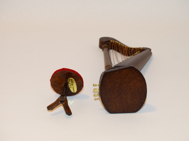 Image 4 of Dollhouse Harp and Stool, Wood, Red Velvet