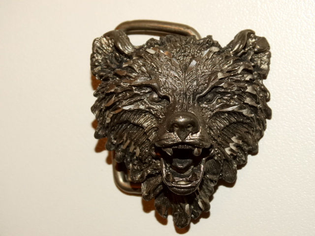 Bear Belt Buckle, Diamond Etched Pewter
