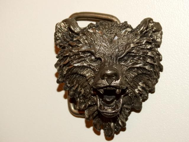Bear Belt Buckle, Diamond Etched Pewter