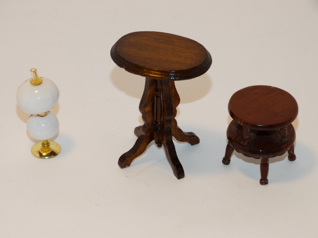 Image 3 of Dollhouse Gone With the Wind Lamp, Tables