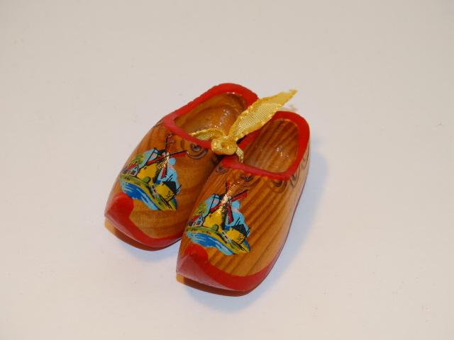 Wooden Dutch Shoes w Windmills, Miniature