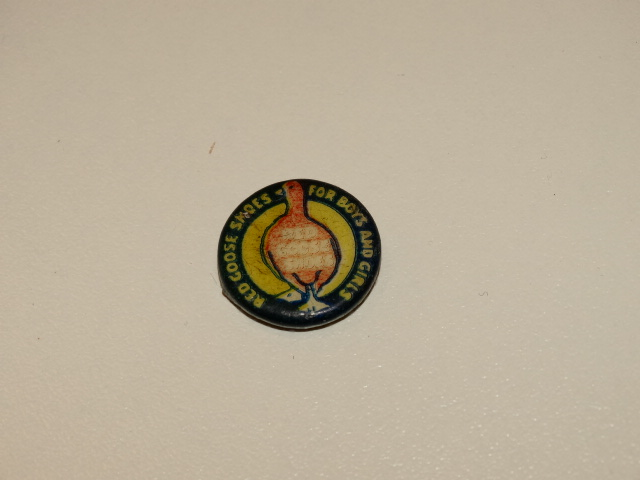 Red Goose Shoes Logo Button, Antique Original