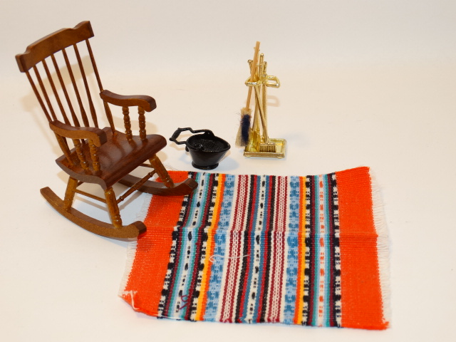 Dollhouse Rocking Chair, Rug, Fireplace Tools