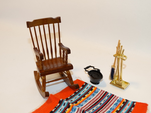 Image 1 of Dollhouse Rocking Chair, Rug, Fireplace Tools