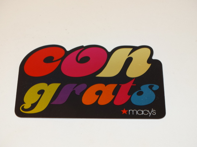Macys Gift Card, Foil Rainbow Congrats, ZERO Balance