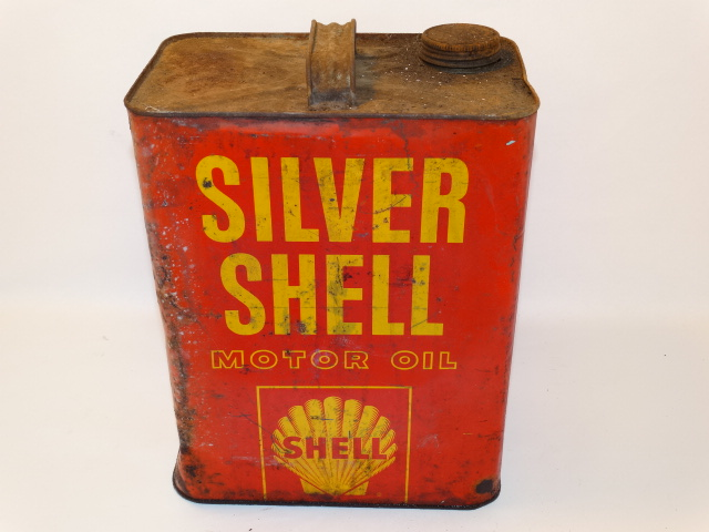 Silver Shell Oil Can Vntg Orig