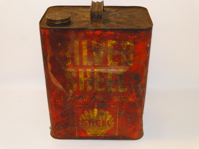 Oil Can Silver Shell, Red Yellow As Found