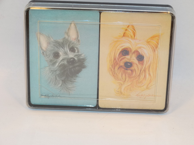 Playing Cards Dogs, Double Deck Vntg New, Orig Box