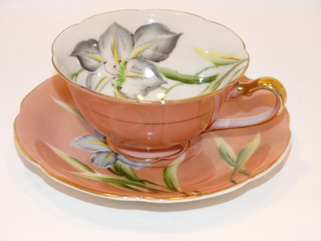 Teacup Saucer Iris, Hand Painted Trimont China