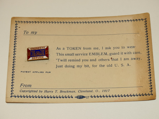 WWI Engineers Pin on Orig Card, Military Antique Original