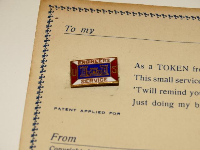 '.Twin Castle Towers on WWI Pin.'