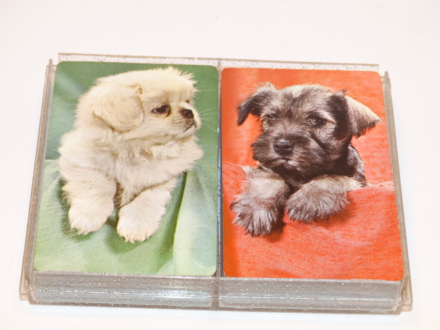 Playing Cards Puppies, Double Deck Vntg, Orig Box