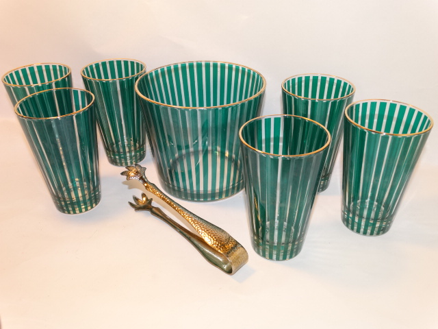 Ice Bucket and Glasses, Green Stripe, Gold