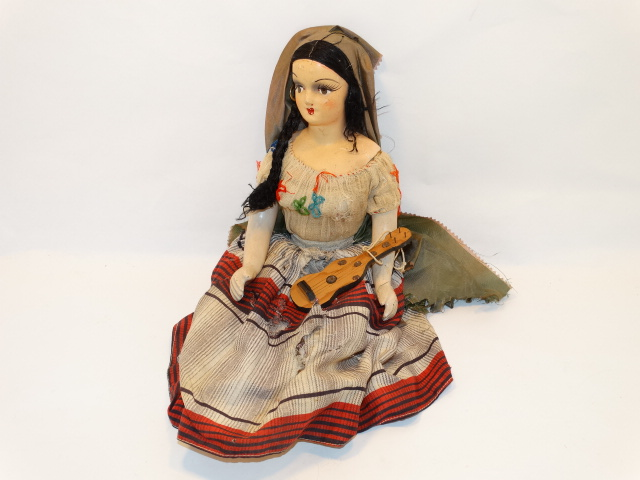 Cloth and Straw Gypsy Doll, Handmade Antique Folk Art