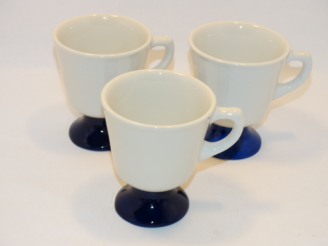 Walker China Coffee Cup Footed Set White Cobalt Blue