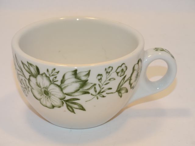 Sterling Coffee Cup China Flowers, Green, White