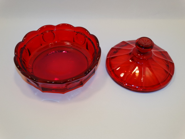 Image 1 of Coin Glass Red Covered Dish Fostoria, Lancaster Colony