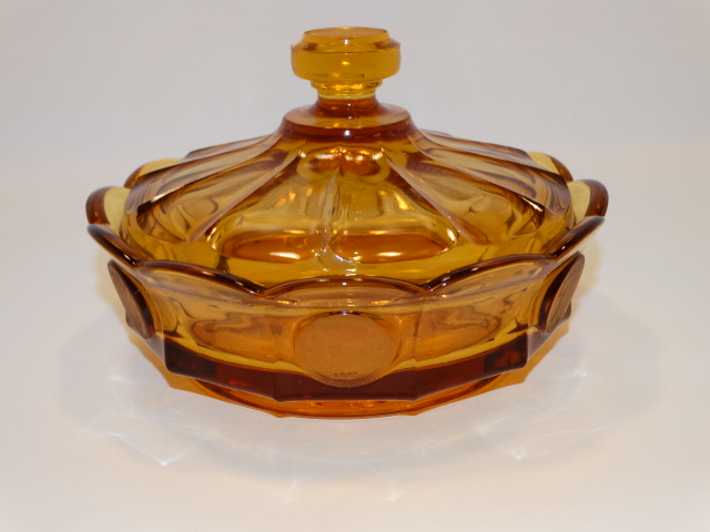 Coin Glass Amber Covered Dish Fostoria