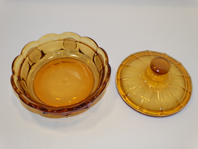 Image 3 of Coin Glass Amber Covered Dish Fostoria