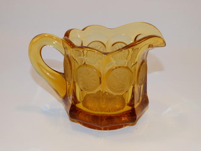 Image 2 of Coin Glass Amber Creamer Fostoria