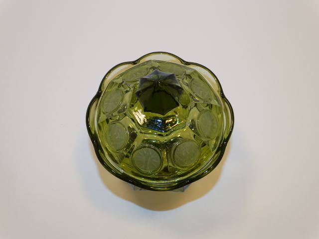 Image 1 of Coin Glass Olive Green Wedding Bowl Fostoria