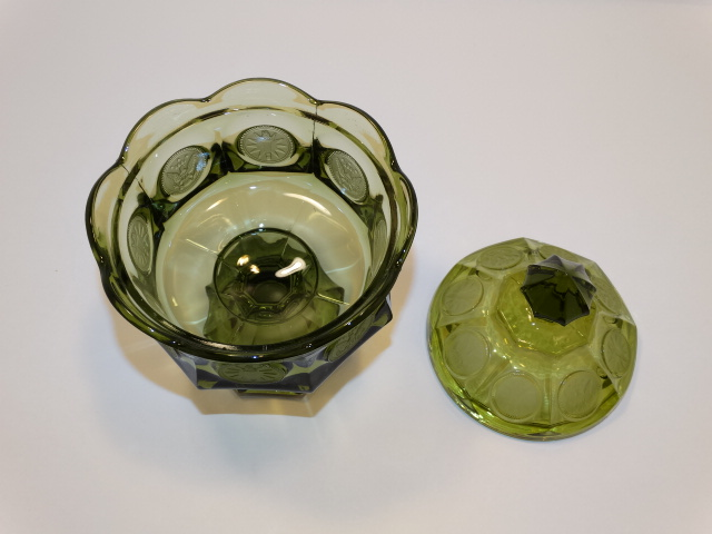Image 2 of Coin Glass Olive Green Wedding Bowl Fostoria