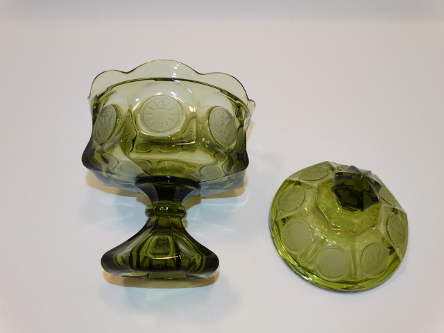 Image 3 of Coin Glass Olive Green Wedding Bowl Fostoria