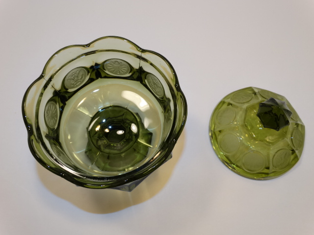 Image 4 of Coin Glass Olive Green Wedding Bowl Fostoria