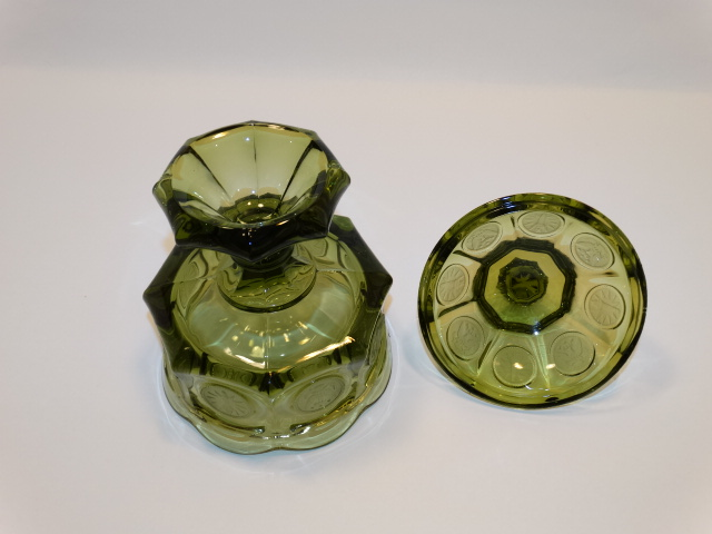 Image 5 of Coin Glass Olive Green Wedding Bowl Fostoria