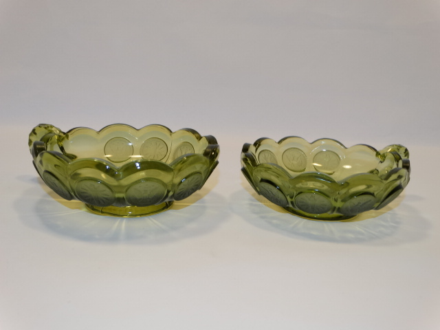 Image 1 of Coin Glass Olive Green Nappy w Handle, Fostoria