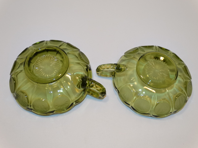 Image 3 of Coin Glass Olive Green Nappy w Handle, Fostoria