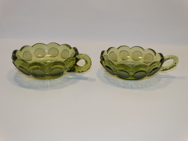 Image 4 of Coin Glass Olive Green Nappy w Handle, Fostoria