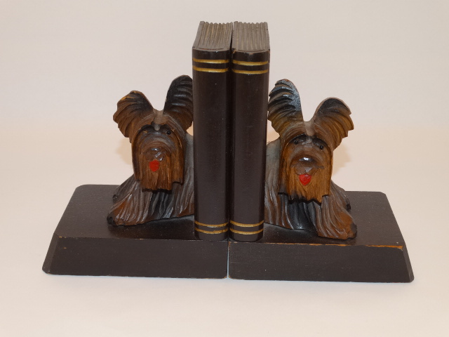 Bookend Set Terrier Dog Hand Carved Wood