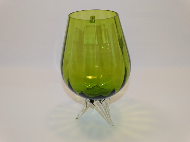Ryd Brandy Glass Vase Green Tripod Feet Vintage
