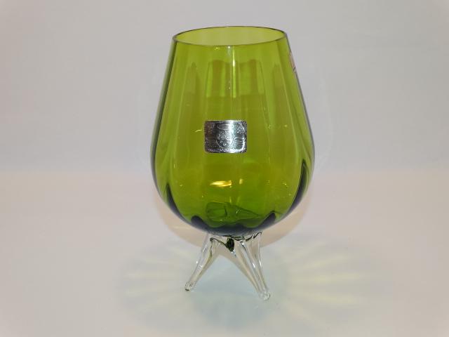 Ryd Brandy Glass Vase Green Tripod Feet Vintage