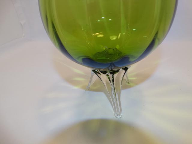 Image 6 of Ryd Brandy Glass Vase Green Tripod Feet Vintage