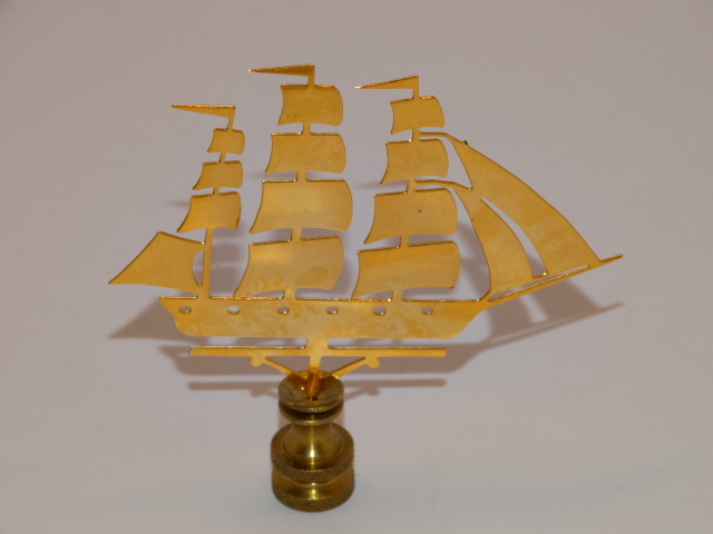 Sailing Ship Lamp Finial, Goldtone