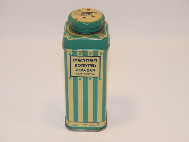 Mennen Borated Powder Striped Tin Box