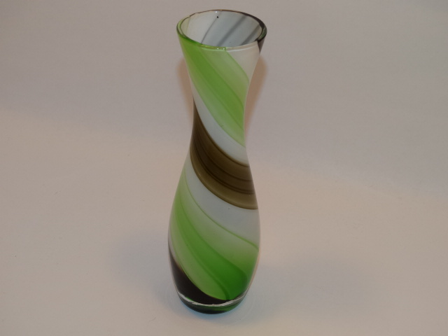 Image 1 of Czech Glass Vase Green Brown White Swirl