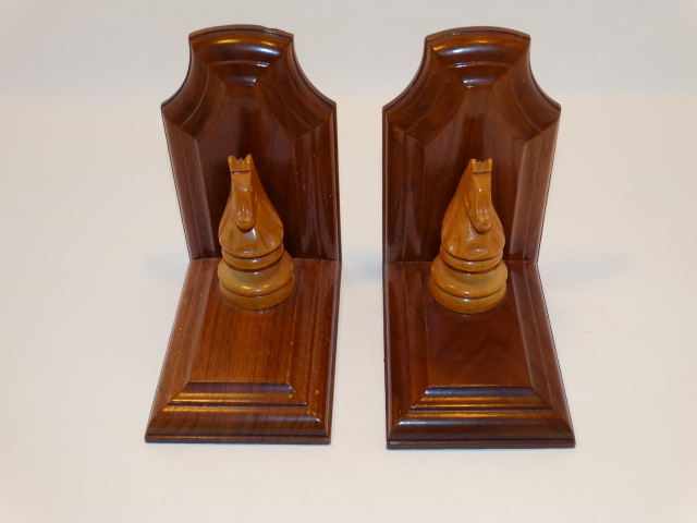 Image 1 of Bookend Set Chess Knight Hand Carved Wood