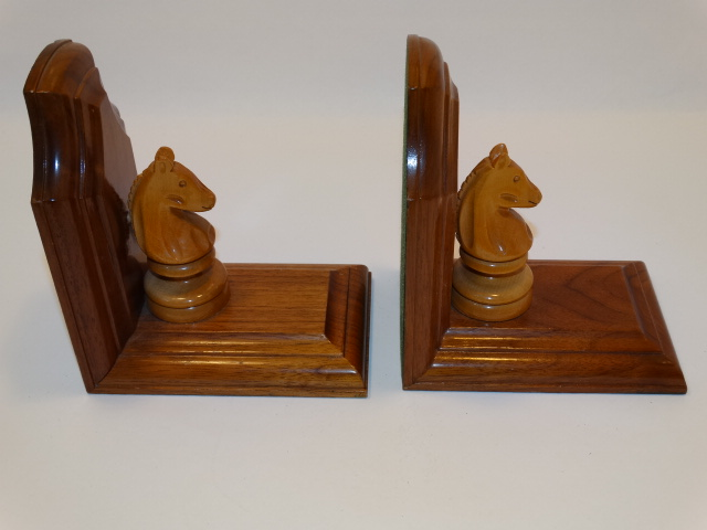 Image 2 of Bookend Set Chess Knight Hand Carved Wood