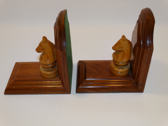Image 4 of Bookend Set Chess Knight Hand Carved Wood