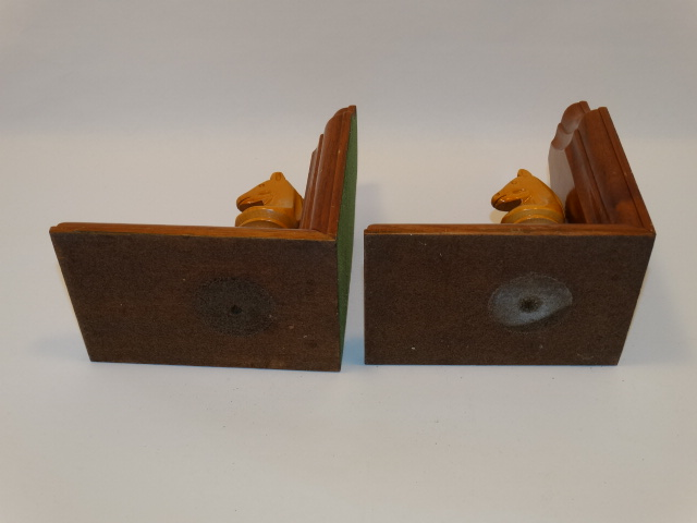Image 5 of Bookend Set Chess Knight Hand Carved Wood